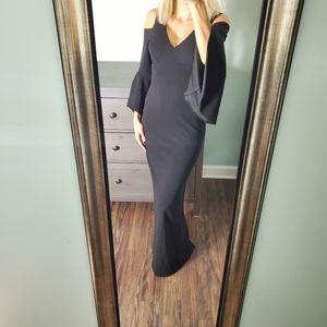 XSCAPE black Cold Shoulder Bell Sleeve Maxi Dress